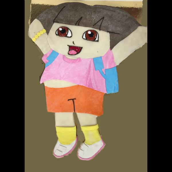 Rigtig sød Dora kage med marcipan overtræk